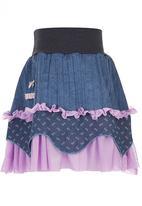 Eco Punk - Girls skirt, cord, print & mesh mix Mid Blue