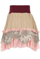 Eco Punk - Girls skirt, cord, print & mesh mix Stone