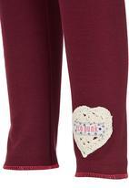 Eco Punk - Girls Legging with crochet heart Dark Purple