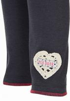Eco Punk - Girls Legging with crochet heart Grey
