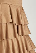 Gert-Johan Coetzee - Layered Suedette Skirt Camel
