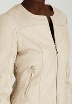 STYLE REPUBLIC - Collarless Quilt Leather-look Jacket Milk