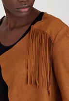 STYLE REPUBLIC - Suedette Fringe Jacket Camel/Tan