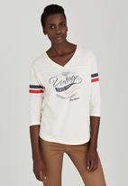 JEEP - 3/4 Sleeve Sporty Top Off White