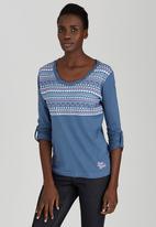 JEEP - 3/4 Sleeve Fashion Top Mid Blue