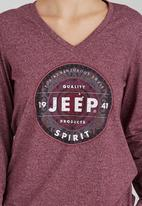 JEEP - V-Neck Printed Tee Dark Red