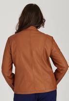 STYLE REPUBLIC PLUS - Basic Biker Jacket Mid Brown