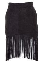 c(inch) - Suedette Tassel Tube Skirt Black