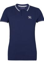 GUESS - S/S Branded Pique Polo Mid Blue