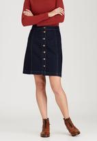STYLE REPUBLIC - Longer A-Line Mini Skirt Dark Blue