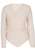 STYLE REPUBLIC - Wrap Bodysuit Pale Pink
