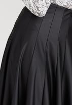 STYLE REPUBLIC - Faux Leather Panel Midi Skirt Black