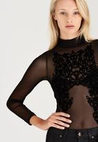 London Hub - Sheer Flock Mesh Bodysuit Black