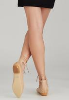 Sam Star - Leather Lace Up Pointy Pumps Beige