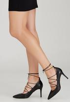 Sam Star - Leather Lace Up Heels Black