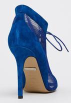 Sam Star - Genuine Suede Lace Up Peep Toe Stilettoes Blue