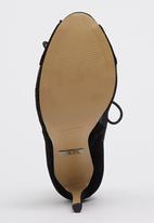 Sam Star - Genuine Suede Lace Up Peep Toe Stilettoes Black