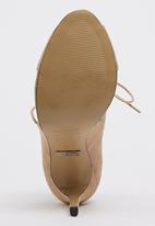 Sam Star - Genuine Suede Lace Up Peep Toe Stilettoes Beige