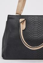 Dazzle - Snake Embossed Structured Tote Bag Black