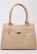Pierre Cardin - Faux Ostrich Skin Tote Bag Beige