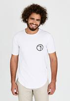 Resist - Scooped Tee With Chest Print White