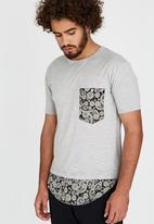 Resist - Scooped Tee With Woven Chest Pocket Grey