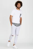 Resist - Scooped Tee With Woven Chest Pocket White