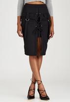 London Hub - Lace-up and Eyelet Detail Skirt Black
