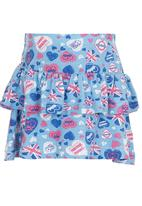 See-Saw - Tiered Jersey Skirt Blue