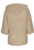 Rebel Republic - Hooded Knit Sweater Stone