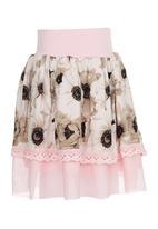 Eco Punk - Girls Skirt Big Daisy Pale Pink