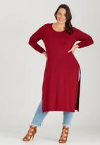 edit Plus - High Slit Tunic with Long Sleeve Dark Red