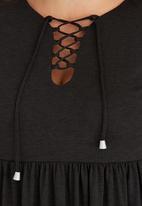 edit Plus - Maxi Dress with Tie Detail Dark Grey