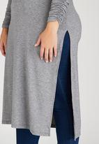edit Plus - High Slit Tunic with Long Sleeve Grey