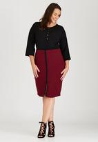 edit Plus - Pencil Ponti Skirt Dark Red