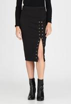 London Hub - Lace Up Skirt Black