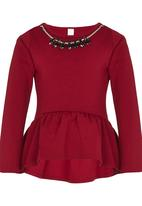 POP CANDY - Top With A Jewel Accessory Dark Red