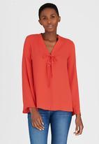 c(inch) - Lace-up blouse Orange