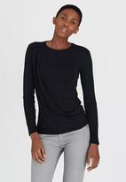 edit - Long-sleeve Drape Top Black