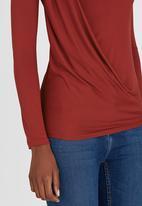 edit - Long-sleeve Drape Top Mid Brown
