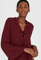 c(inch) - Lace-up blouse Dark Red