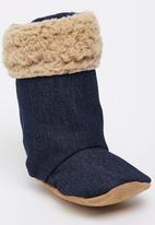 Myang - Denim & Beige Sheepskin  Boots Mid Blue