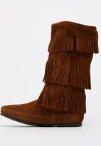 Minnetonka - Suede Calf-high Three Layer Fringe Boots Dark Brown
