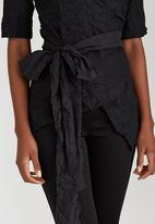 HABITS - Crushed Effect Wrap Shirt Black