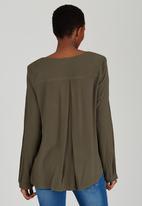 Sitting Pretty - KT V-neck Front Pleat Blouse Khaki Green