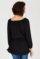 c(inch) - Peasant Tunic with Elastic Waist Black