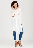 c(inch) - Split Back Longer Length Shirt Off White