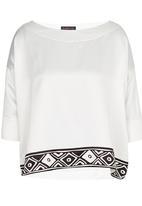 HABITS - Off-the-shoulder Border Print Top Off White