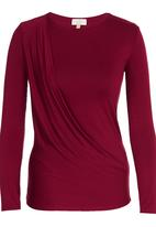 edit - Long-sleeve Drape Top Red