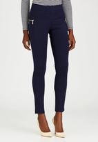 G Couture - Sophie Side Zip Ponte Leggings Navy